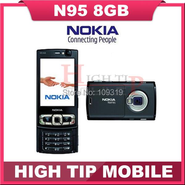 100% Original unlocked Nokia N95 2.8 inch 8GB GSM 3G 5MP WIFI GPS Mobile phone1 year warranty Drop free shipping Refurbished(China (Mainland))
