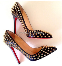 2015 New Arrival Fashion Lambskin gold spikes Sexy High Heeled Woman Pumps Boots Leather Sandals Evening Dress Red Shoes(China (Mainland))