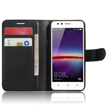 Buy Cyboris cover Huawei ascend y3 II 2 4.5 inch case Lichee Flip Holster PU Leather card slot holders stand function for $3.55 in AliExpress store