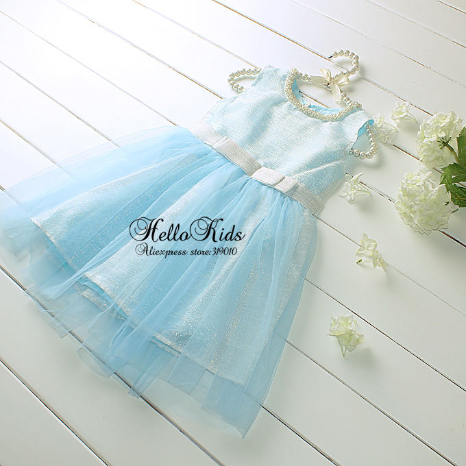 Wholesale 2016 Blue Princess Dresses With Bow Lace Summer Frock Dress With Tulle Layer Baby Girl Children Clothes GD50312-10^^HK(China (Mainland))