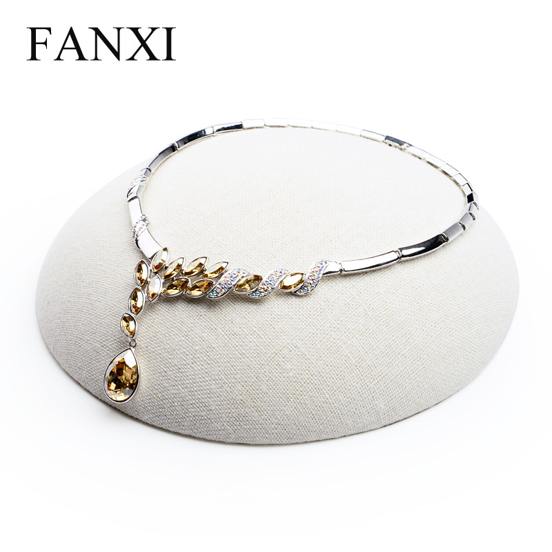 FANXI Free Shipping Concise Necklace Bracelet Holder Stand Beige Linen Jewelry Display Stand Shop Decoration Exhibitor(China (Mainland))