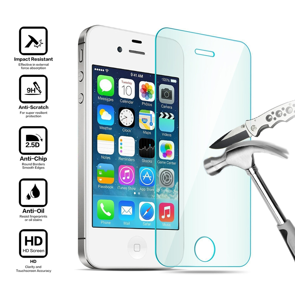 Premium 0.33mm 9H Tempered Glass Screen Protector For iPhone 4 4S Explosion Proof Clear Toughened Protective Film OPP Package(China (Mainland))