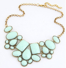 2015 New Arrival Fashion Jewelry Trendy Women Necklaces Pendants Link Chain Statement Necklace Resin Pendant For