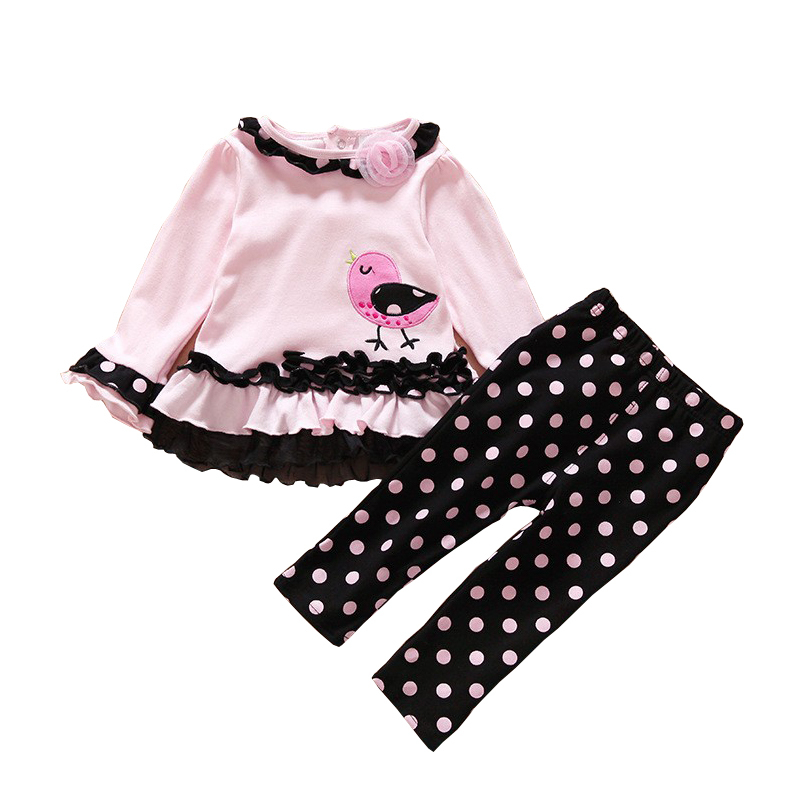 2016 New Style Baby Girls Clothes Set Fashion Age 0-2 Spring Newborn Polka Dot kids Bird T-shirt+Pants Casual Lace Floral suits(China (Mainland))