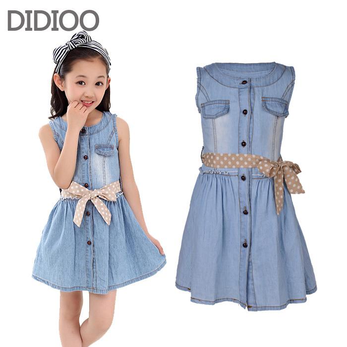 Teenage Girls Dresses Summer Style Sleeveless Denim Dress for Girls Clothing Teens Sundress kids clothes 2 4 6 8 10 12 14 15 Y <br><br>Aliexpress