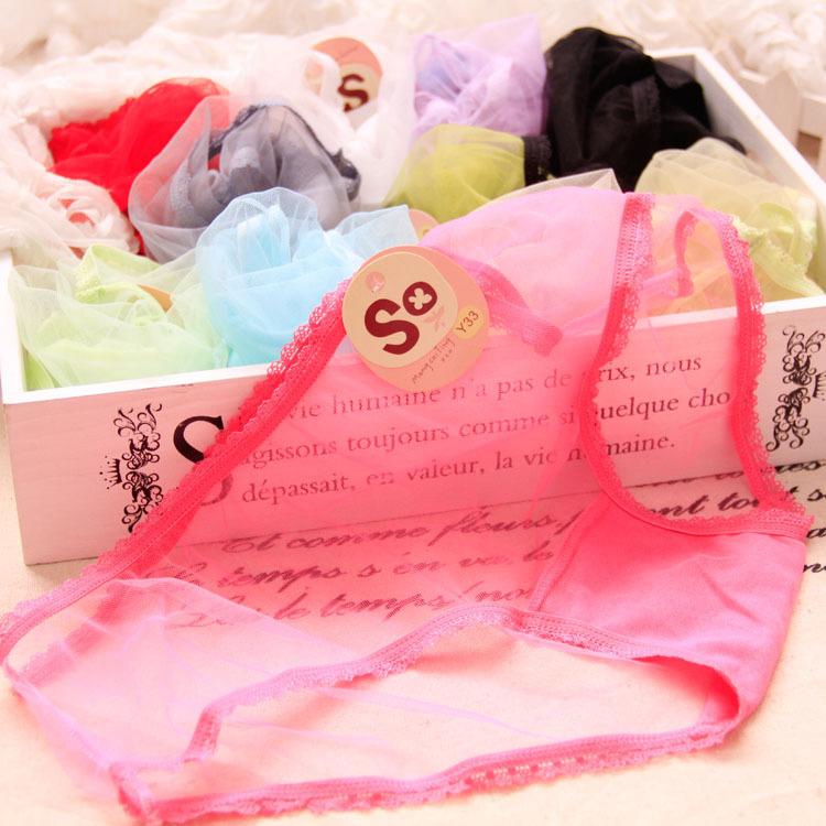 2015 brand 100pcs/lot Ms big yards transparent sexy underwear panties waist candy color small triangle women underwear WTA yarn(China (Mainland))