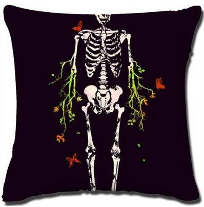 New Arrival Horror Human Skeleton Style Throw Pillow Cover Decorative Two Sides Square Zippered Luxury Printing Pillowcases(China (Mainland))