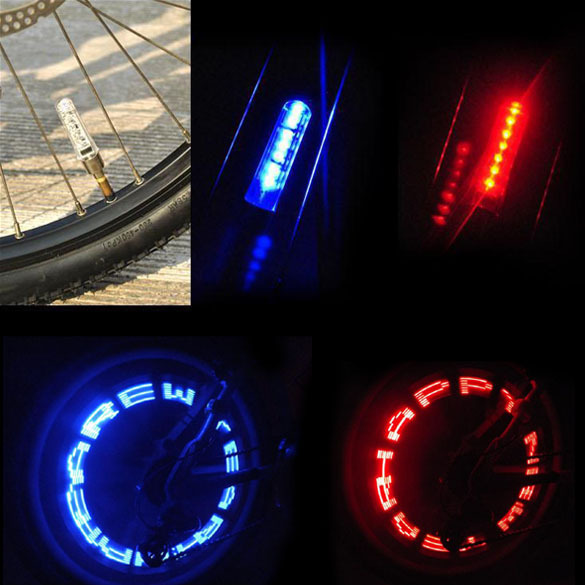 Waterproof Bike Bicycle Tyre Valve Caps LED Lights Bicycle Wheel Valve Tire LED Letter Light Double Sense BHU2<br><br>Aliexpress