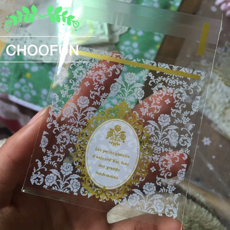 100pcs Baroque Classical Lace Style Soap Baking Packaging Bag Wedding Candy Bag Gift And Cookie Plastic Bag B129(China (Mainland))