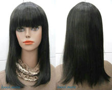 HOT sell Shipping >> Best quality Medium long Straight Black Straight Bang Women Lady Daily Wig