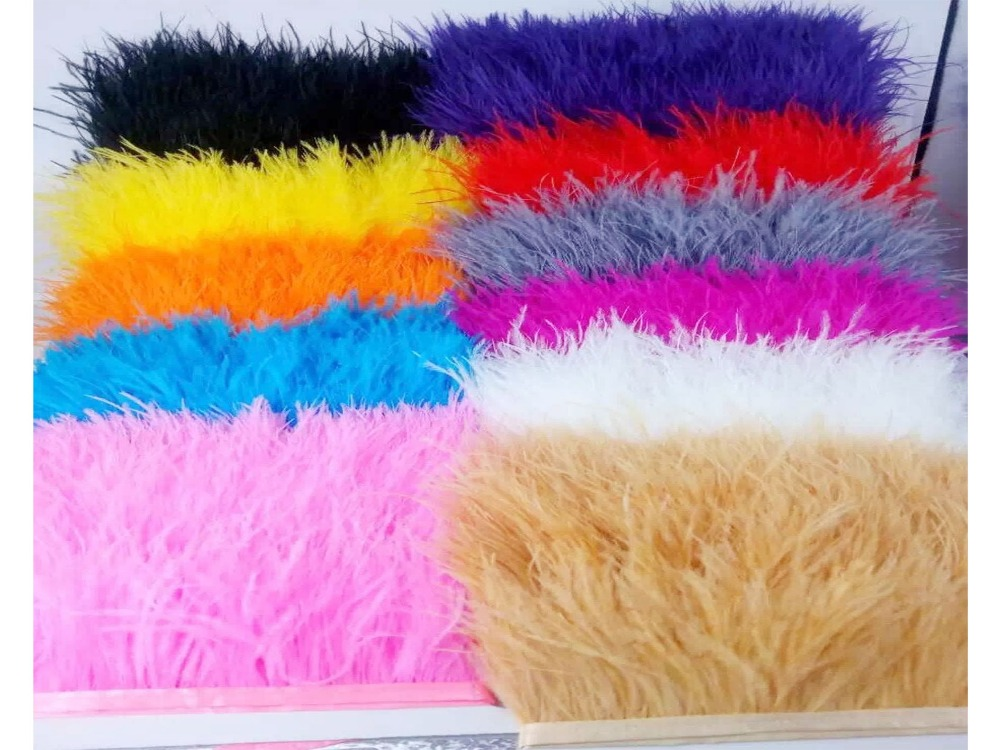 Free Shipping 11 colors 10meters/lot pprox8-10CM Ostrich Fringe Feathers Jewelry/ Craft /Dress/ Hat Decor Ostrich Feather Trim(China (Mainland))