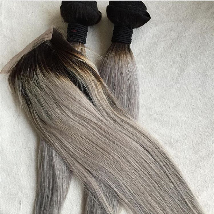 2 bundles with 1 lace closure ombre ash silver grey brazilian hair <br><br>Aliexpress