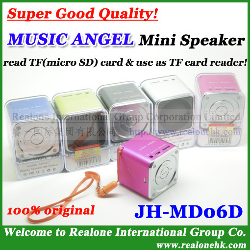 30pcs free shipping portable speaker MUSIC ANGEL JH-MD06D,Factory direct wholesale speaker suppot TFcard,TF card reader