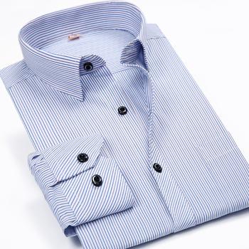 Классический длинным рукавом Stiped сорочки для мужчин мода мужские деловые формальные ...