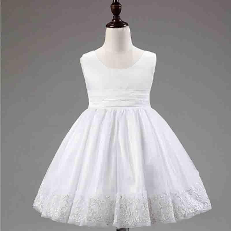Kids Dream Princess Baby Girls Pink Mesh Flowers Sleeveless Easter Dress Toddler Girl Vest Tutu Tulle Dress(China (Mainland))