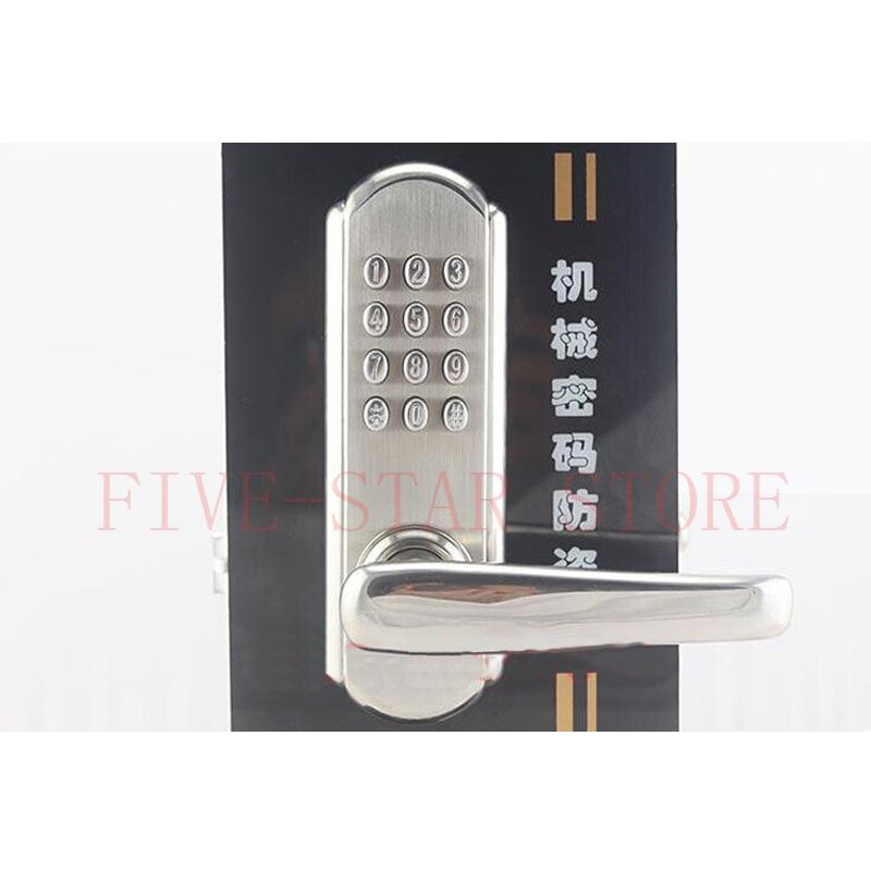 unique stainless steel wire drawing mechanical door lock keyless pushbutton password mechanism lock(China (Mainland))