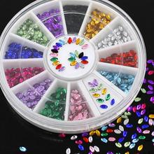 High Quality Fashion 2015 Multicolor Oval 3D Glitters  Nail Art Salon Stickers  Tips  DIY Decorations  Studs  with Wheel
