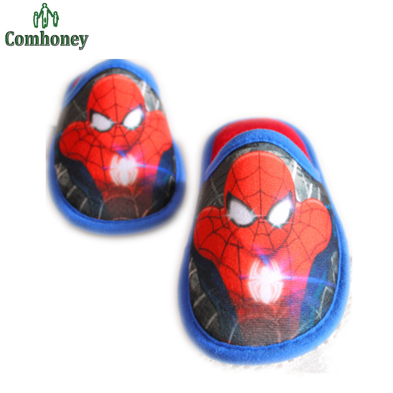 Spiderman Children Winter Slippers Captain America Boys Slippers Warm Plush Slippers For Boys Home Wear Boys Spiderman Shoes(China (Mainland))