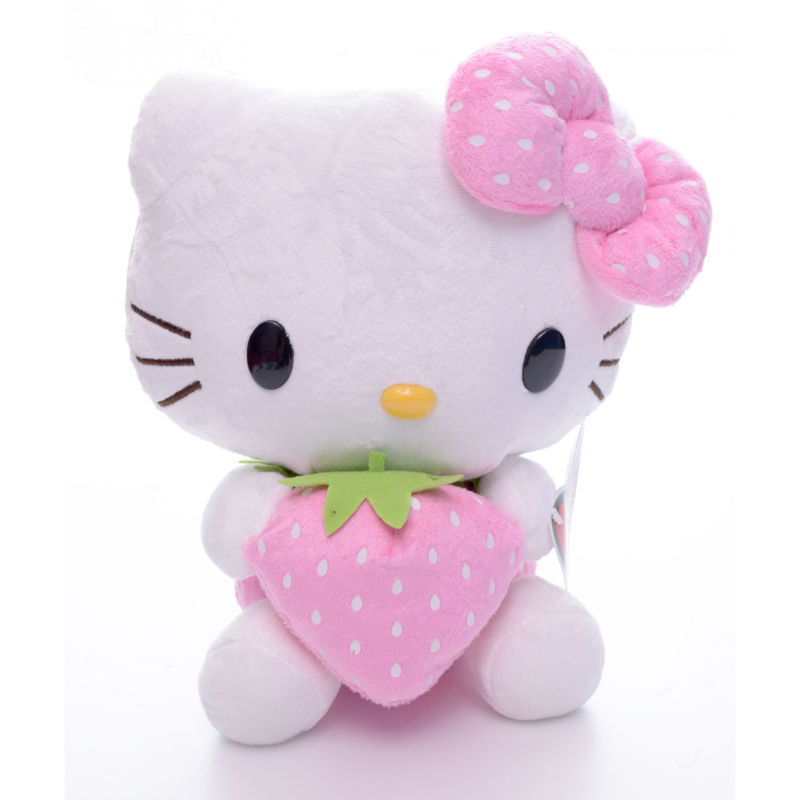 Hot Selling Addorable Plush Pink bowknot Dress Sit Hello Kitty Plush Doll Toy 7'' Brand New Free Shipping #LNF(China (Mainland))
