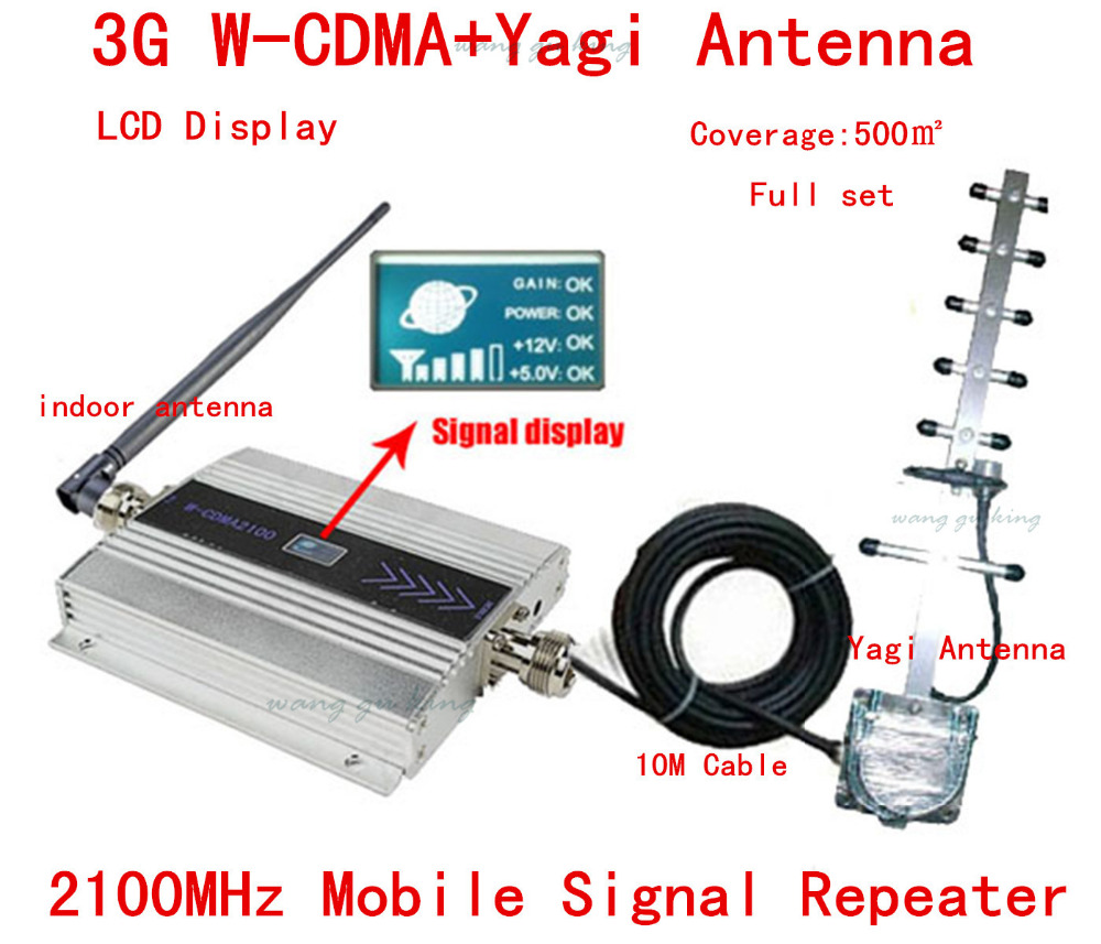 LCD Display ! 3G Signal Repeater W-CDMA 2100Mhz 3G Repeater Mobile Phone 3G Booster Amplifier 13dbi Yagi Antenna signal booster(China (Mainland))