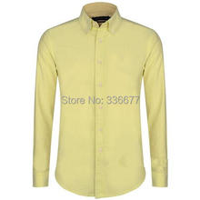 Yellow Mens Casual Shirts Designer Summer Mens Casual Shirts with Buttons Cotton Material Long Sleeve Hot Sale QR-0093(China (Mainland))