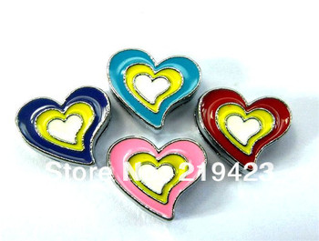 100pc 8mm Slide charms double heart Charm DIY Accessories fit pet collar and wristband