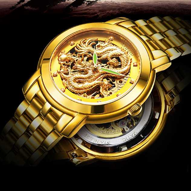 Mechanical Dragon Wrist Watch 2015 Hot Mechanical Waterproof Hollow Out Ultra thin Watches Men chinese Wrist