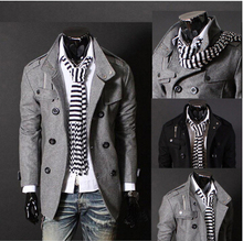 New 2015 stand collar double breasted wool blends mens pea coat england style Men's Clothing coat slim fit casaco masculino/NDY3(China (Mainland))