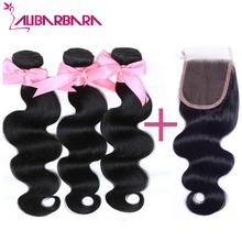 Peruvian Virgin Hair Body Wave 3 Bundles with Lace Closure 7A Unprocessed Human Hair Weaves Cheap Peruvian hair #1b