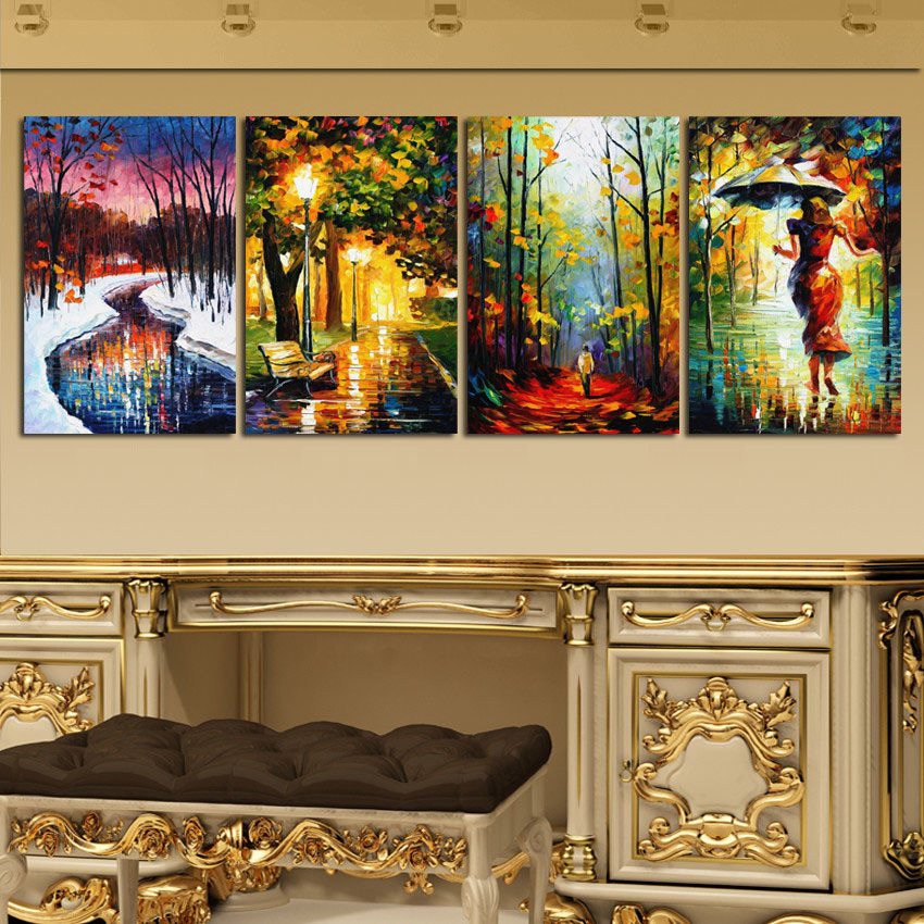 Large modern abstract oil painting landscape figure wall - Landscape paintings for living room ...
