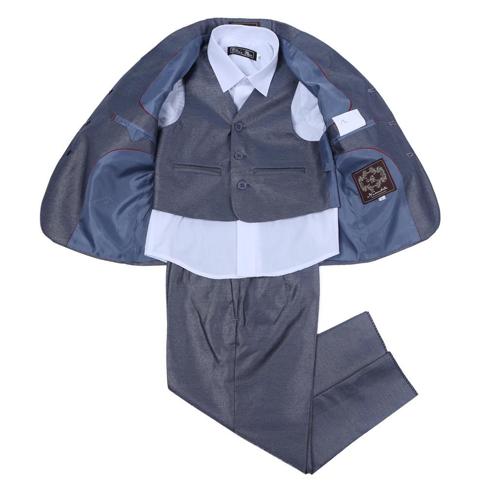 Fashion Three-Pieces Formal Boys Clothes Shining Gray Wedding Children Boy Suit Coat Pants Vest - Dongguan Jiahao Apparel & Co., Ltd store
