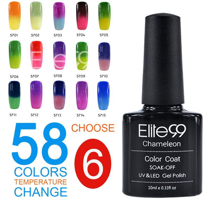 Elite99 UV Shining Colorful 51 Colors 10ML Temperature Change Color Manicure Gel Nail Nice Soak Polish 6 - Royal Beauty store