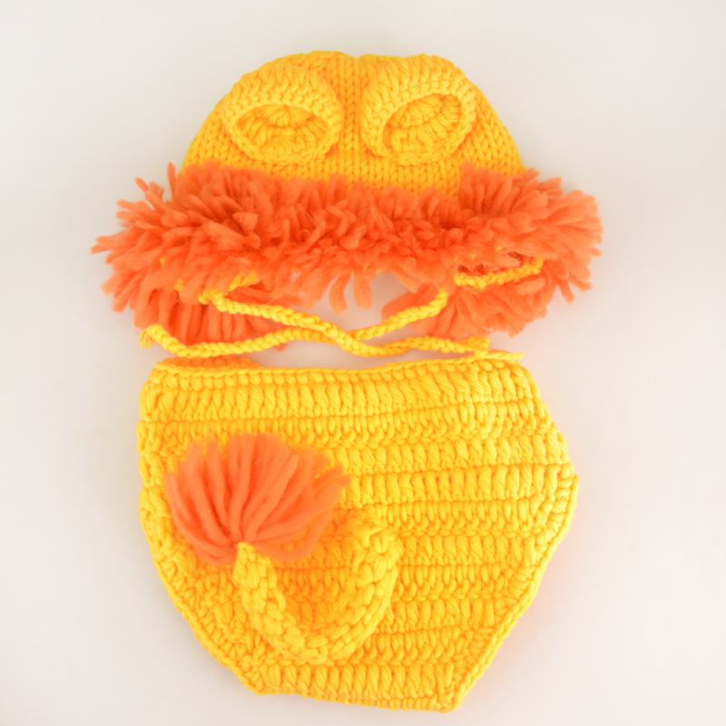 2017 Cute Lion Baby Hat Cap,Knitting Baby Costume Crochet Pattern Newborn Photography Accessories#P0297(China (Mainland))