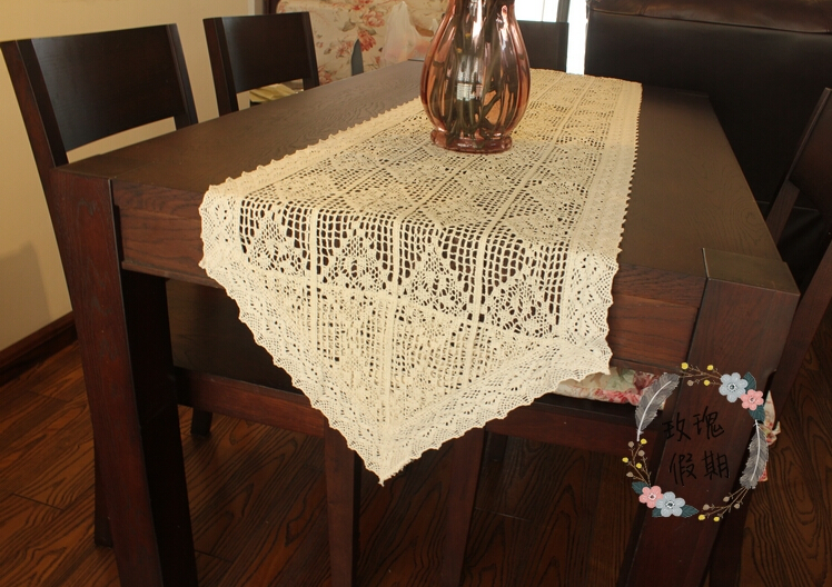 Chrismas Handmade Crochet Beige Cotton hollow Tablecloth Table Runner Flower Table cloth(China (Mainland))