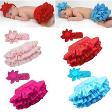 0-24M Baby Girls Ruffle Tutu Skirts Pants+Flower Headband(China (Mainland))