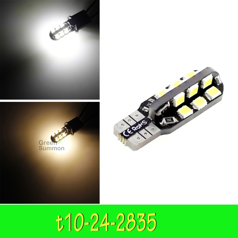 NEW T10 24smd Car Side Wedge Dome Bulb W5W 194 168 2835 Warm or White car led Light(China (Mainland))