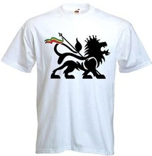 Lion Of Judah Mens T-Shirt – Reggae Bob Marley Rasta White male shirt blusa free Men's Clothing