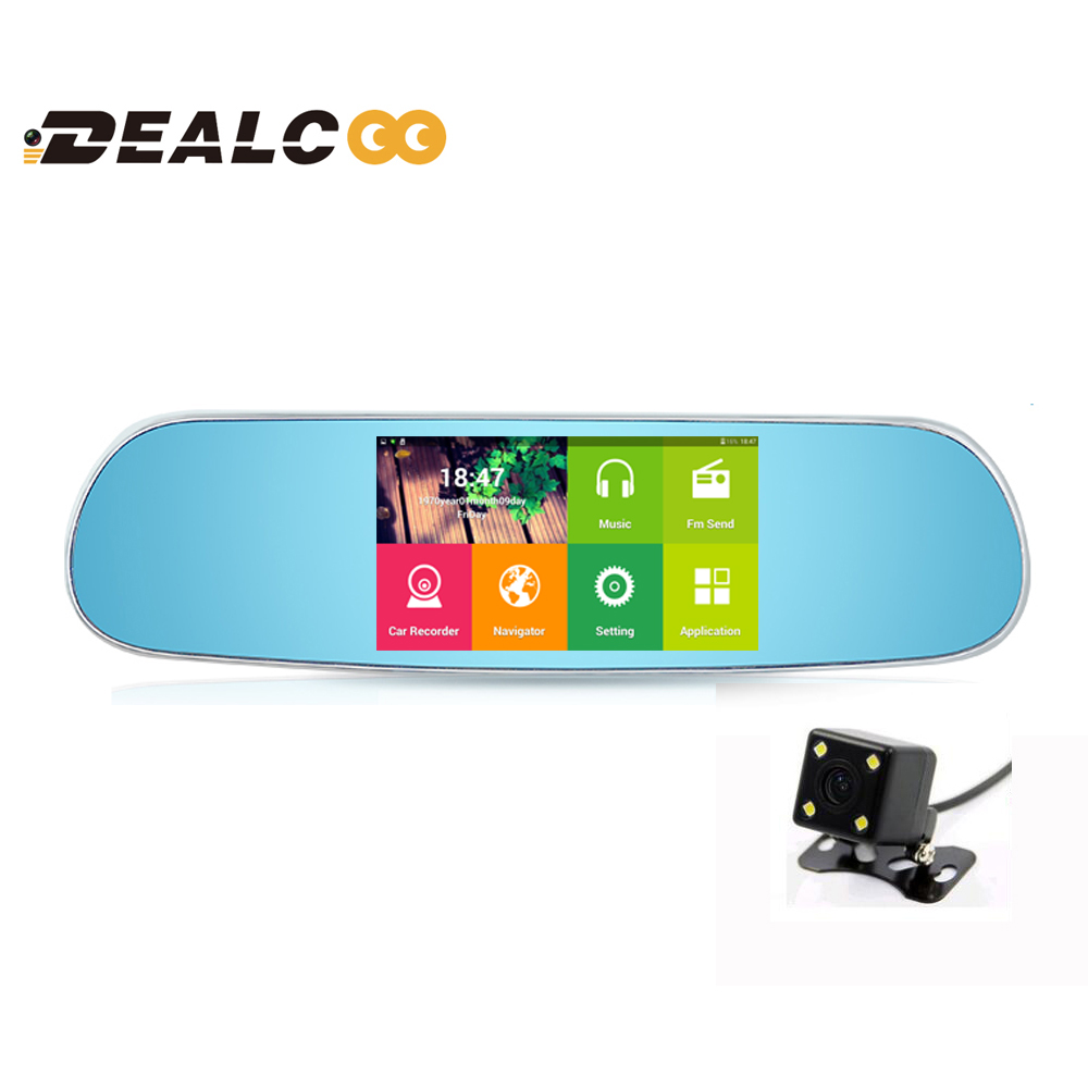Dealcoo 5 inch Car DVR GPS Android Rearview mirror no Bluetooth Monitor 1080P Dual Lens Camera Video GPS Navigation free maps(China (Mainland))