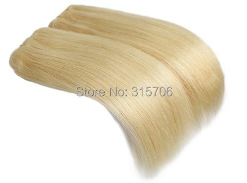 20 inch Remy Weft Hair Extensions silky straight 100g/set #613 light blonde - Fashion Girl's store