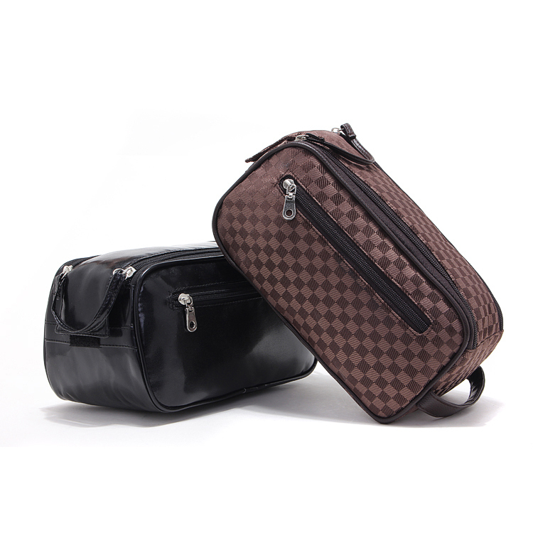Large capacity cosmetic bags men business clutches travel makeup cases black plaid high quality outdoor toiletry wash organizer(China (Mainland))