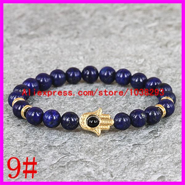 1PCS MixColor New Arrival beautiful Natural Stone Bead Gold Hamsa Hand bracelet For Women/men Buddha head bracelet Jewelry gift(China (Mainland))
