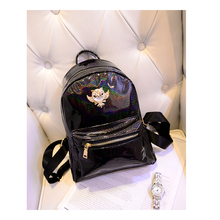 New2015 Casual Women's Colorful Canvas Backpacks Girl Lady Student School Travel bags Mochila Women Bag patent leather bling bag(China (Mainland))