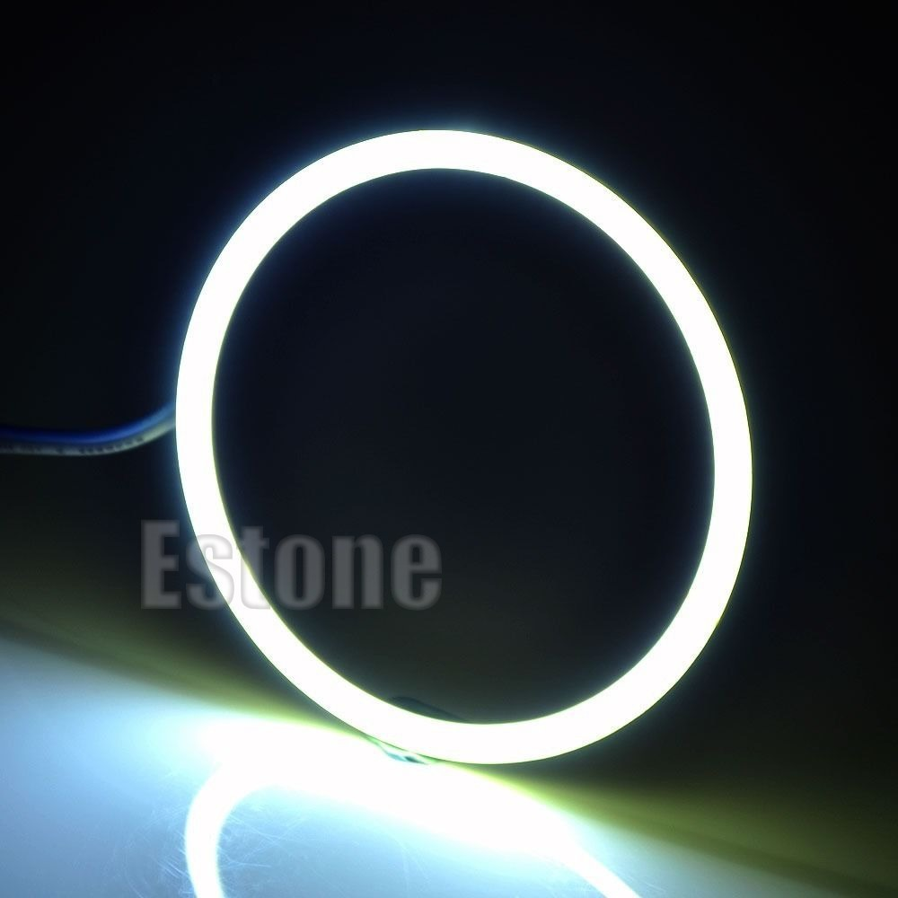 B39 Newest 2x 80mm COB Angel Eye LED Chip Car Light Headlight Halo Ring Light White