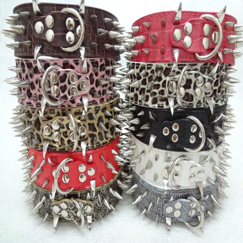 Goods For Pets For Animals Lead Multi Color Spiked Dog Collars Neck Buckle Studded PU Leather Strap Pet Dog Collar Pet Supplies(China (Mainland))