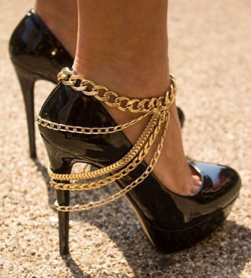 Sexy Lady Anklet Row Wave Gold Silver Chain High Heel Shoe Foot Ankle Bracelet