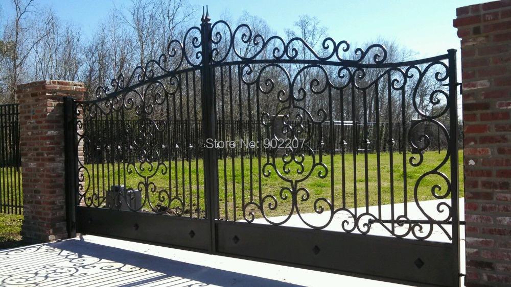 Wrought iron custom driveway gate in