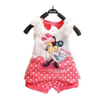 Лето девочка одежда комплект минни жилет Dot шорты маленькие девочки лето комплект ...
