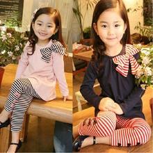 Feitong 2015 Girls Clothing Long Sleeve Bow striped Tops + Striped Leggings roupas infantis menina 2 Piece Set Free Shipping(China (Mainland))