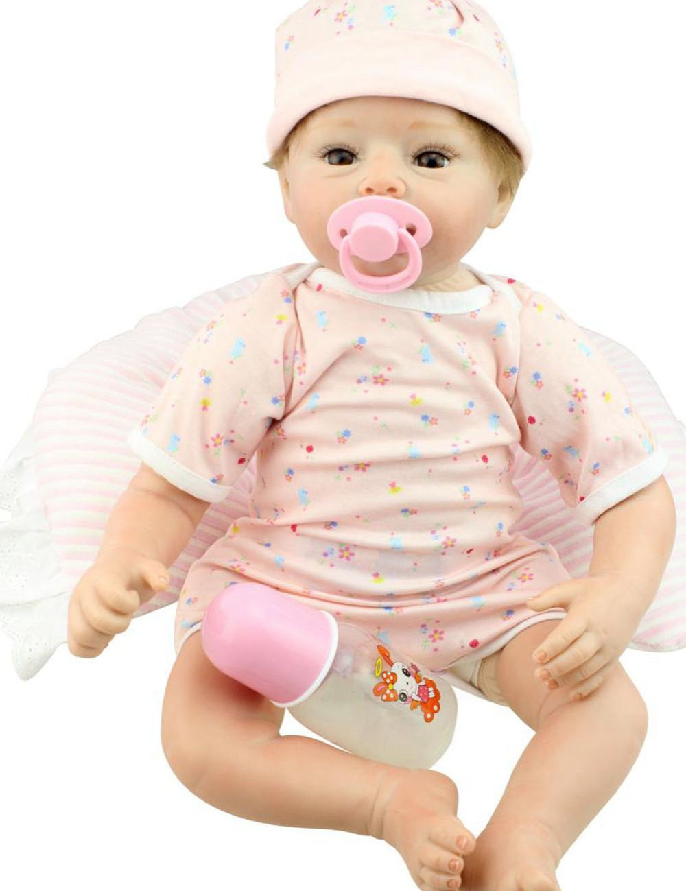 22inch Silicone Lifelike Reborn Baby Alive Doll Girl with Milk Tooth Handmade Realistic Gift Toys Women Collects