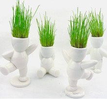 2015 The New Arrival Big White People Grass Doll Real Planting Grass Little Vase For Gift Home Decoration Vase Free Shipping(China (Mainland))